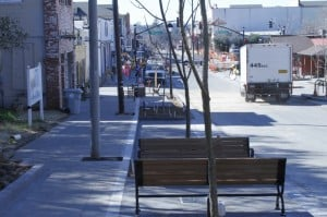 New sidewalk, seating at top of the 600 Block